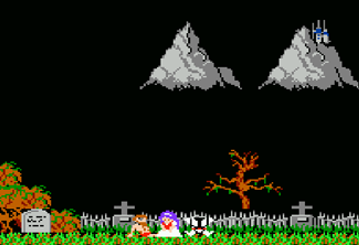 Ghosts 'N Goblins has a rather ridiculous introduction with Sir Arthur and the Princess enjoying a date in a cemetery.