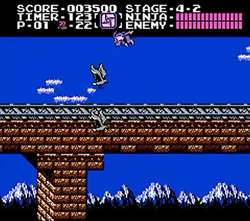 Ryu Hayabusa dodging a swarm of birds - perhaps some of the most obnoxious foes found in any NES game!