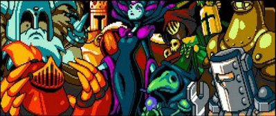 Pictured here is the evil Enchantress, surrounded by her Order Of No Quarter. They are (clockwise from bottom-left to right):  MOLE KNIGHT, POLAR KNIGHT, KING KNIGHT, SPECTER KNIGHT, PROPELLER KNIGHT, TREASURE KNIGHT, TINKER KNIGHT and PLAGUE KNIGHT.