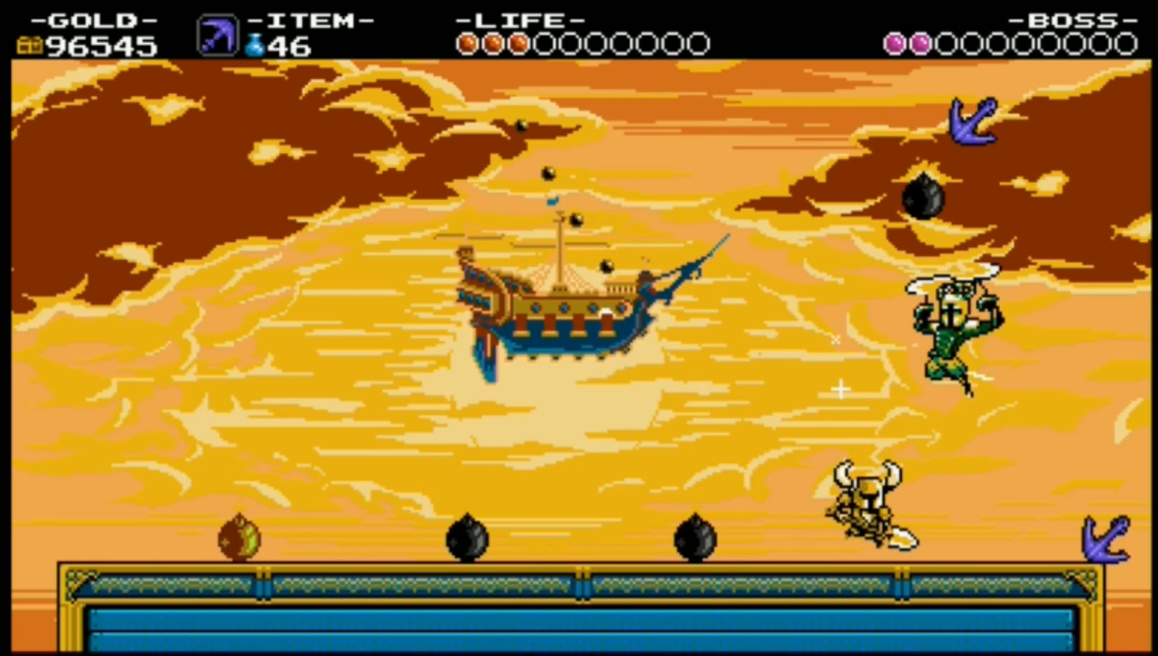 Shovel Knight and Propeller Knight battle atop the Flying Machine.