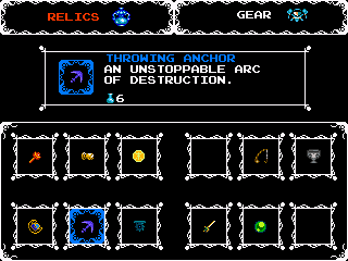 This Shovel Knight Sub Screen shows your Relics and Gear.
