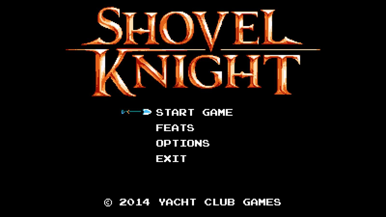 A picture of Shovel Knight's Start Screen.