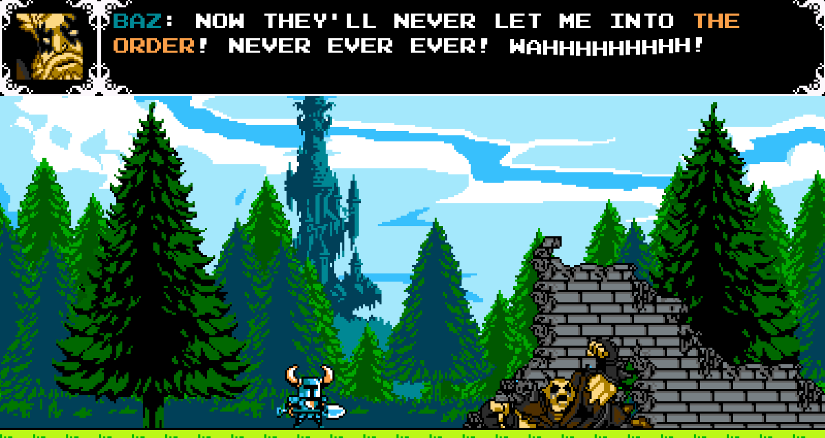 Shovel Knight's battle against Baz, one of the Wandering Travellers, might remind the player of Simon's Quest - Castlevania 2.