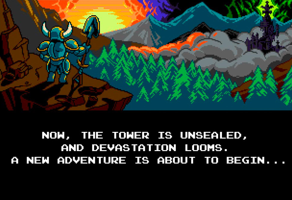 Shovel Knight stands ready for his adventure. The story panel reads:  NOW, THE TOWER IS UNSEALED, AND DEVASTATION LOOMS. A NEW ADVENTURE IS ABOUT TO BEGIN...