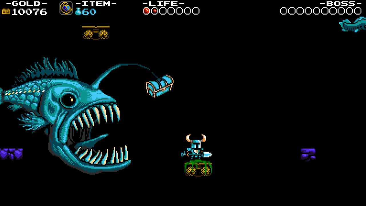 Shovel Knight tries to avoid the lure of a Teethalon's dangling treasure chest, while exploring the depths of Treasure Knight's Iron Whale.