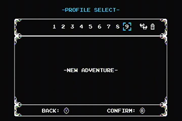 A picture of Shovel Knight's -Profile Select-, -New Adventure- menu.