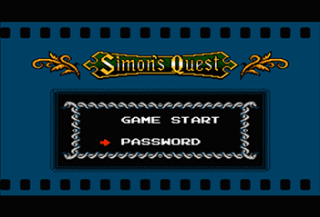 A picture of the Password Screen from Castlevania II:  Simon's Quest.
