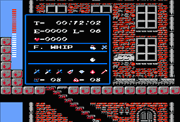 Screenshot of beginning of Simon's Quest game with Level 6 and the Flame Whip.