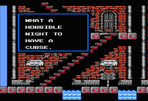 Castlevania II:  Simon's Quest - Villagers during the daylight in a town.