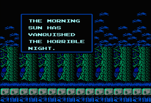 Castlevania II: Simon's Quest - Zombies during nighttime in a town.