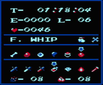 Castlevania II:  Simon's Quest - The Multi-Screen reveals the complexity of gameplay in this game. It displays the current and total time of play (in 24 hour format with days), the Experience Rating, Player Level, the number of Hearts, the current Whip, which of Dracula's Body Parts have been found and the vast collection of magical items and weapons you have collected.