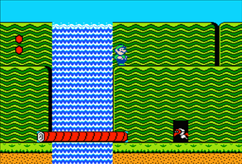 Using Luigi to perform a Power Squat Jump from this log, will let you exploit this secret shortcut on World 1-1.