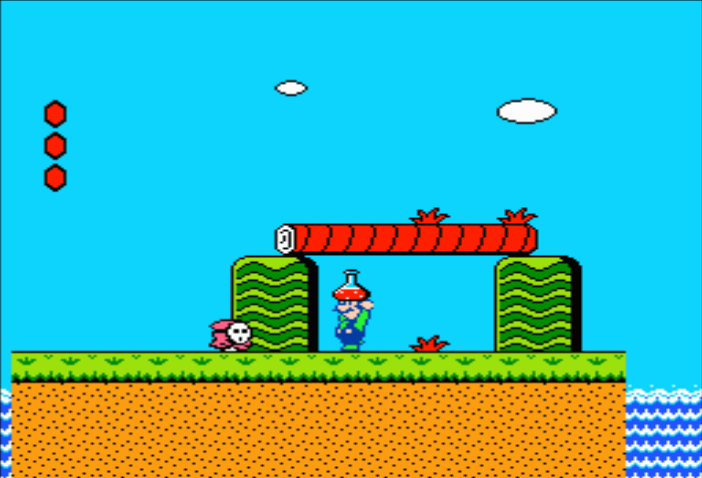 Grab the Magic Potion near the end of the first section of World 1-3 in Super Mario Bros. 2. Be careful not to drop it yet.