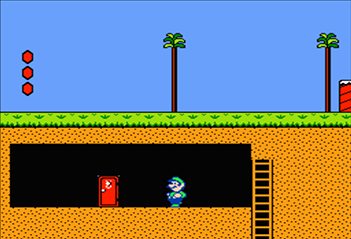 On World 3-2 in Super Mario Bros. 2, to reach the secret shortcut, enter this door.